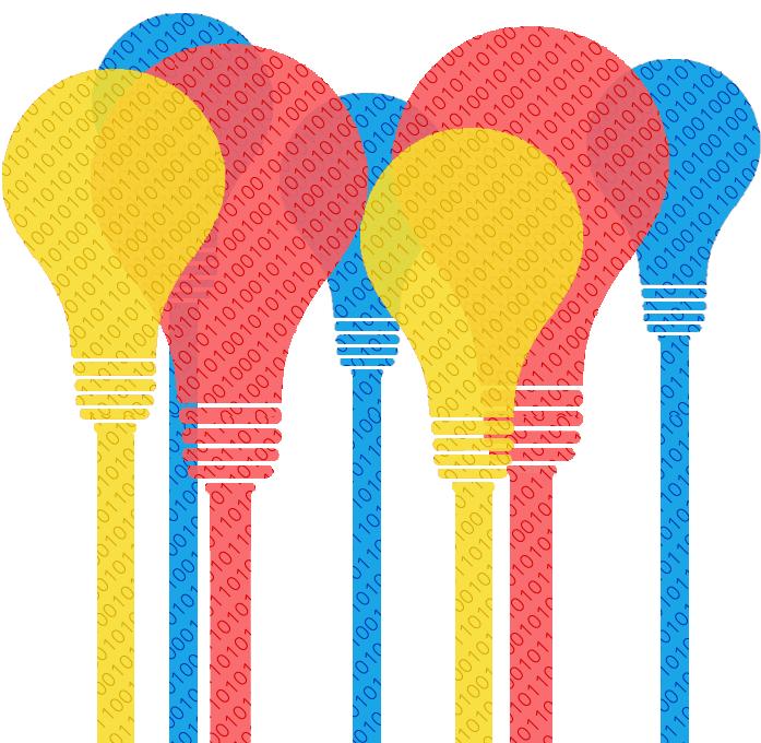 Light bulbs with binary code inside